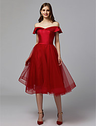 cheap -A-Line Off Shoulder Knee Length Tulle / Stretch Satin Cocktail Party / Prom Dress with Sash / Ribbon by TS Couture®