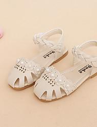 abordables -Chica Zapatos PU Verano Confort Sandalias Paseo Perla de Imitación / Flor / Cinta Adhesiva para Niños Beige / Gris / Rosa