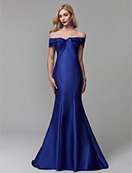 baratos -Sereia Ombro a Ombro Cauda Escova Cetim Evento Formal Vestido com Fru-Fru de TS Couture®