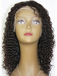 cheap -Remy Human Hair Lace Front Wig Wig Indian Hair Curly Layered Haircut 130% Density With Baby Hair / For Black Women Black Women's Short / Long / Mid Length Human Hair Lace Wig
