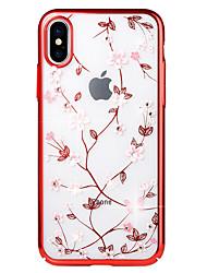 Недорогие -Кейс для Назначение Apple iPhone X / iPhone 8 Стразы / Покрытие / Рельефный Кейс на заднюю панель Цветы Твердый ПК для iPhone X / iPhone 8 Pluss / iPhone 8