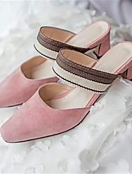 abordables -Mujer Zapatos Piel de Oveja Primavera verano Confort Zuecos y pantuflas Tacón Cuadrado Dedo cuadrada Rosa / Nudo
