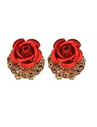 baratos -Mulheres Brincos Curtos - Flor Clássico, Fashion Preto / Vermelho / Azul Real Para Formal