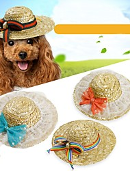 cheap -Pets Hats, Caps & Bandanas / Bandanas & Hats Dog Clothes British / Bowknot / Floral / Botanical Green / Blue / Pink Linen&Cotton Blend /