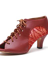 baratos -Mulheres Sapatos de Dança Latina Couro Sintético Têni MiniSpot / Lantejoula Salto Grosso Personalizável Sapatos de Dança Vermelho Escuro
