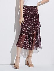 cheap -Women's Trumpet / Mermaid Skirts - Floral High Waist