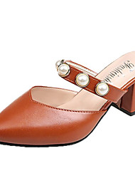 cheap -Women's Shoes PU(Polyurethane) Summer Slingback Clogs & Mules Chunky Heel Pointed Toe Beige / Light Brown