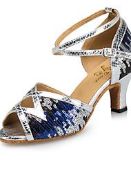 baratos -Mulheres Sapatos de Dança Latina Sintéticos Salto Lantejoula Salto Grosso Sapatos de Dança Prateado