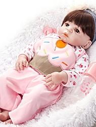 baratos -FeelWind Bonecas Reborn Bebês Meninas 22 polegada Silicone de corpo inteiro - realista, Olhos Castanhos de Implantação Artificial de Criança Para Meninas Dom