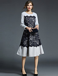 cheap -SHIHUATANG Women's Street chic / Sophisticated A Line Dress - Color Block Lace