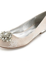 cheap -Women's Shoes Lace Spring Comfort / Ballerina Wedding Shoes Flat Heel Round Toe Rhinestone / Crystal / Buckle Silver / Champagne / Ivory / Party & Evening