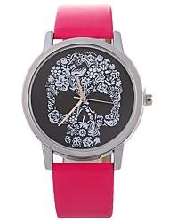 cheap -Xu™ Women's Wrist Watch Quartz Creative Skull Large Dial PU Band Analog Flower Fashion Black / White / Blue - Fuchsia Brown Blue One Year Battery Life