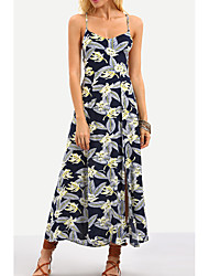 cheap -Women's Basic Cotton Swing Dress - Floral Print Maxi Strap / Strapless / Summer