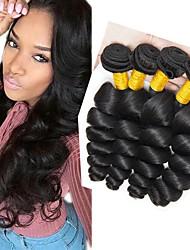 Недорогие -4 Связки Индийские волосы Волнистый Натуральные волосы Человека ткет Волосы / Удлинитель 8-28 дюймовый Черный Естественный цвет Ткет человеческих волос Машинное плетение