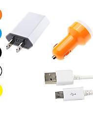 Недорогие -Автомобильное зарядное устройство Зарядное устройство USB Стандарт США / USB с кабелем / Несколько разъемов / QC 3.0 2 USB порта 2.1 A 100~240 V / DC 5V для S7 Active / S7 edge / S7