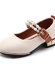 cheap -Girls' Shoes Faux Leather Spring / Fall Comfort / Flower Girl Shoes Heels Imitation Pearl / Magic Tape for Kids Black / Beige / Pink / Wedding / Party & Evening