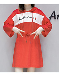 abordables -Femme Coton Ample Tee Shirt Robe Au dessus du genou