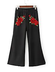 abordables -Mujer Básico / Chic de Calle Alta cintura Algodón Delgado Perneras anchas / Chinos Pantalones - Un Color / Bloques Bordado / Otoño / Noche