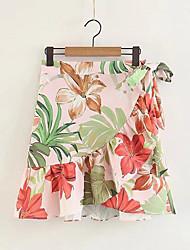 cheap -Women's Going out A Line Skirts - Floral High Waist