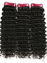 Недорогие -3 Связки Бразильские волосы Кудрявый Натуральные волосы Человека ткет Волосы / Накладки из натуральных волос 8-28 дюймовый Естественный цвет Ткет человеческих волос Без шапочки-основы