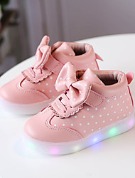 cheap -Boys' / Girls' Shoes PU(Polyurethane) Spring / Fall Comfort / Light Up Shoes Boots Lace-up / Magic Tape / LED for Kids / Baby White / Black / Pink