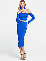 cheap -Women's Club Flare Sleeve Bodycon Dress - Solid Colored Backless / Cut Out Off Shoulder / Lace up / Skinny