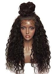 baratos -Perucas Lace Front Sintéticas Encaracolado Corte em Camadas Cabelo Sintético Com Baby Hair / Resistente ao Calor / Elástico Preta Peruca Mulheres Longo Frente de Malha
