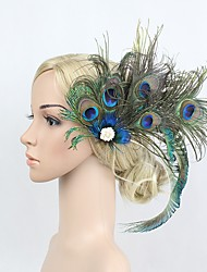 cheap -The Great Gatsby Vintage / 1920s Costume Women's Flapper Headband Blue Vintage Cosplay Feather Sleeveless