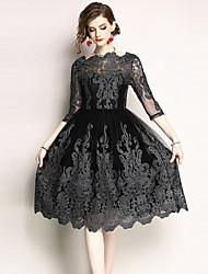 economico -Per donna Vintage / sofisticato Linea A Vestito - Con ricami, Tinta unita Medio