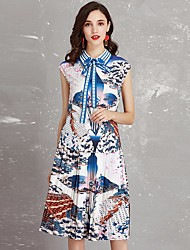 cheap -Women's Basic / Street chic A Line Dress - Floral Blue & White, Bow / Print