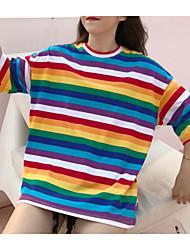 abordables -Tee-shirt Femme, Couleur Pleine Glands Rétro Noir & Blanc