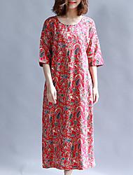 abordables -Femme Basique Tunique Robe Midi