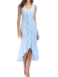 cheap -Women's Basic / Street chic Sheath / Trumpet / Mermaid Dress - Solid Colored Backless / Ruffle