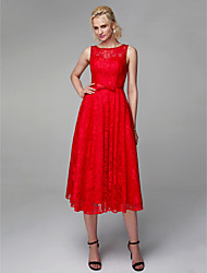 cheap -A-Line Jewel Neck Tea Length Lace / Satin Cocktail Party / Prom Dress with Beading / Bow(s) by TS Couture®