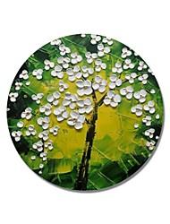 Недорогие -styledecor® современная ручная роспись абстрактная круглая рамка желто-зеленый фон с белыми маслами, готовая повесить искусство