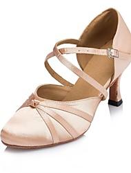 baratos -Mulheres Sapatos de Dança Moderna Cetim Salto Recortes Salto Alto Magro Personalizável Sapatos de Dança Preto / Rosa claro