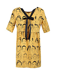 baratos -Mulheres Básico / Moda de Rua Bainha Vestido - Laço / Cordões / Patchwork, Geométrica Acima do Joelho
