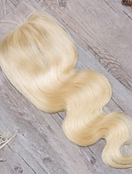 cheap -Guanyuwigs Brazilian Hair / Body Wave 4x4 Closure Wavy Free Part / Middle Part / 3 Part Swiss Lace Human Hair Women's With Baby Hair / Soft / Women Daily
