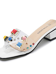 baratos -Mulheres Sapatos Couro Ecológico Verão Chanel Sandálias Salto Robusto Branco / Preto