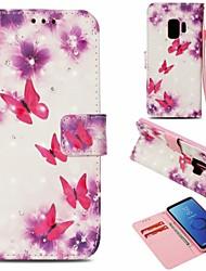 baratos -Capinha Para Samsung Galaxy S9 Carteira / Porta-Cartão / Com Suporte Capa Proteção Completa Borboleta Rígida PU Leather para S9