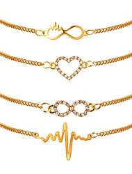 baratos -Mulheres Pulseiras em Correntes e Ligações - Chapeado Dourado Coração, Batida Cardíaca Clássico, Fashion Pulseiras Dourado Para Diário Escritório e Carreira / 4pçs