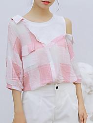 cheap -women's going out shirt - check shirt collar