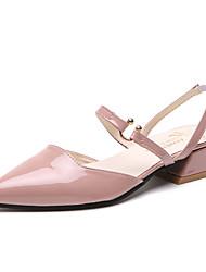 Недорогие -Жен. Обувь Полиуретан Лето Удобная обувь Сандалии Блочная пятка Заостренный носок Бежевый / Розовый / Светло-Зеленый