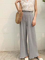 cheap -Women's Street chic Wide Leg Pants - Solid Colored Black & White, Tassel