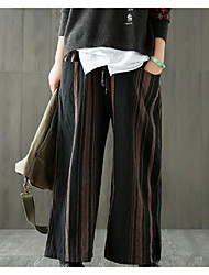 cheap -Women's Active Wide Leg Pants - Solid Colored Black & Red, Tassel