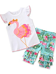 Недорогие -малыш Девочки Фламинго С принтом С короткими рукавами Набор одежды