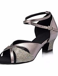 baratos -Mulheres Sapatos de Dança Latina Couro Ecológico Salto Salto Grosso Sapatos de Dança Cinzento / Espetáculo / Ensaio / Prática