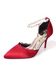 Недорогие -Жен. Обувь Полиуретан Лето Туфли лодочки Обувь на каблуках На шпильке Заостренный носок Искусственный жемчуг Красный / Зеленый / Розовый