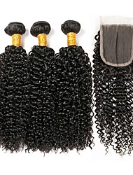 cheap -3 Bundles with Closure Peruvian Hair Kinky Curly Unprocessed Human Hair / Human Hair Gifts / Natural Color Hair Weaves / Hair Bulk / Tea Party Favors 8-20 inch Natural Color Human Hair Weaves 4x4