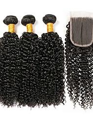 Недорогие -3 комплекта с закрытием Перуанские волосы Kinky Curly 8A Натуральные волосы Необработанные натуральные волосы Подарки Человека ткет Волосы Сувениры для чаепития 8-20 дюймовый Естественный цвет